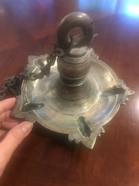 Hanging oil lamp from South India. Solid brass