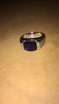 Silver and Sapphire Ring with Diamond accents