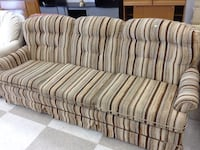 brown and black striped 3-seat sofa