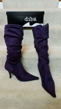 Diba Purple or Plum Suede Kitten Heel Tall Boots West Chicago, 60185
