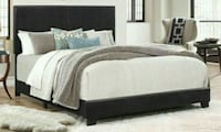 Erin Black Faux Leather Full Bed   Houston