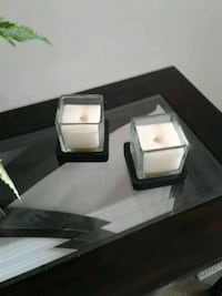 2 square candles with square wooden coasters Kitchener, N2K 4J7
