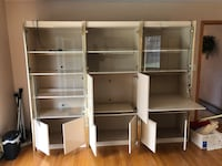 Brown wooden computer desk with hutch 339 km