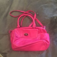 Pink Flux Leather Purse with Shoulder Strap Woodbridge