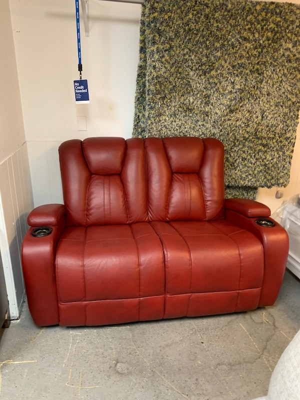 Cool Red Microfiber Stationary Loveseat With Cup Holders Does Not Recline Unemploymentrelief Wooden Chair Designs For Living Room Unemploymentrelieforg