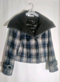 BLUE PLAID WOOL COAT  Wichita
