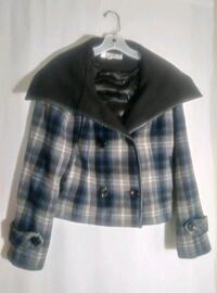 BLUE PLAID WOOL COAT