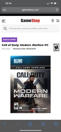 Call of duty modern warfare pc only  downloadable content Laurel, 20707
