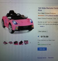 One pink and one red 12v ride on kids car with remote control $75 each or $140 for both cars Woodbridge, 22191