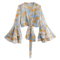 SASHA FRENCH TRUMPET SLEEVE SHAWL COLLAR BLOUSE IN MULTI COLOR