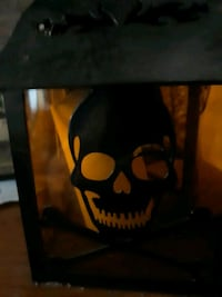 A Halloween candle decoration
