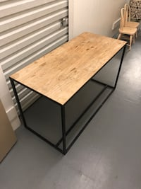 Wood and iron desk. Crate and Barrel. Los Angeles, 90039