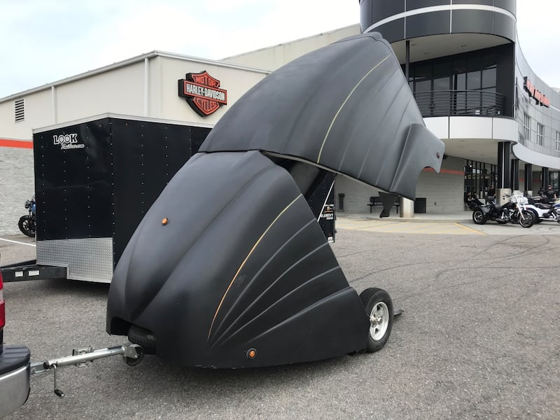 Motorcycle Trailer Enclosed Black Protection Painted