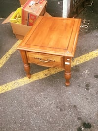 square brown wooden side table with single drawer 邓肯, V9L