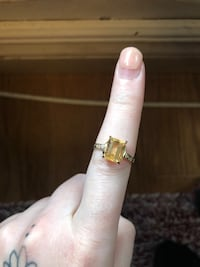 10k natural citrine and diamond ring size 7.