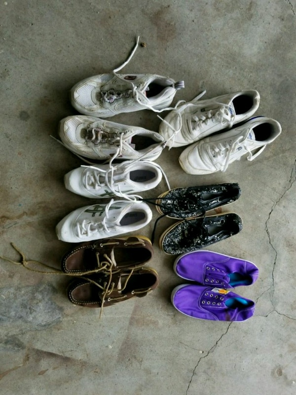 six pairs of sneakers