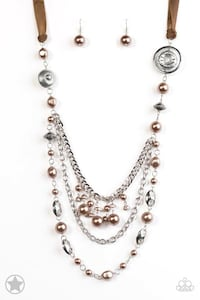 Brown & Pearls Necklace with matching earrings  Longwood, 32779