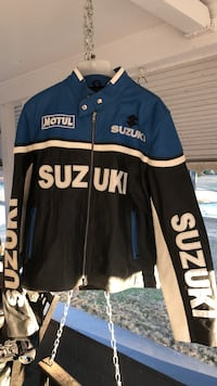 blue, black, and white Suzuki racing jacket Columbus, 31907