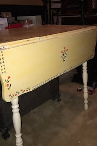Hand stenciled drop leaf Table