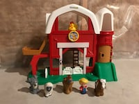 toddler's red, green, and white farm playset
