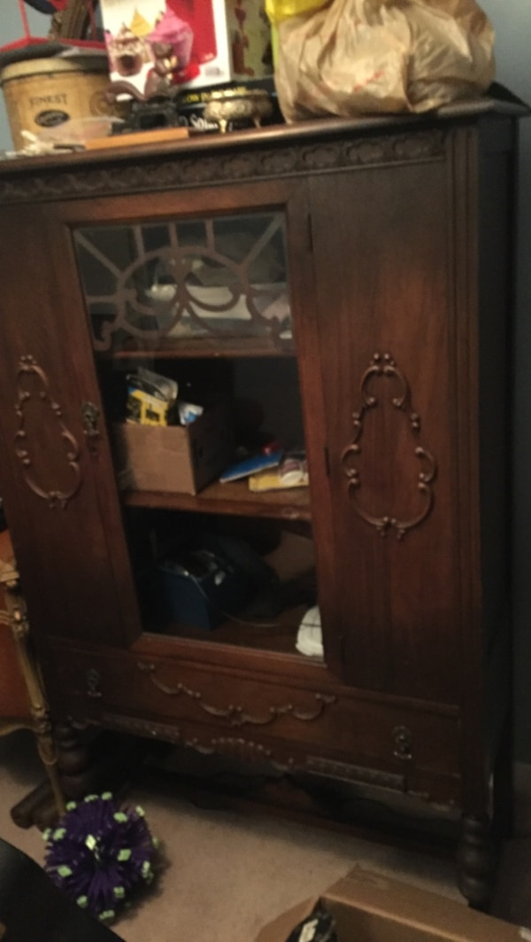 Used Antique Dining Room Set China Cabinet Hutch 6 Chairs And Table 2 Need Repair Refinishing Very Old Solid Wood For Sale In Guelph