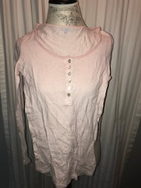 white and pink striped henley shirt
