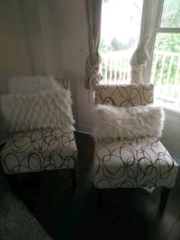 black and white floral fabric sofa chair Whitby, L1N