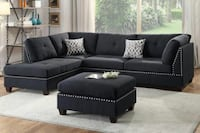 Brand new black linen sectional sofa with ottoman and free ottoman