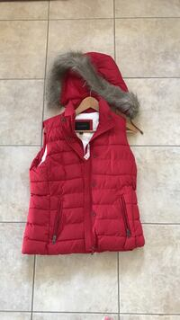 Red button-up parka gilet Ajax