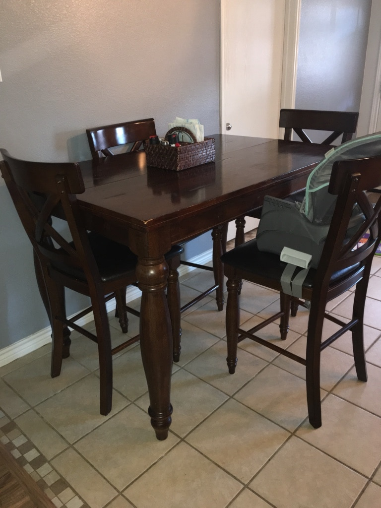 brown wooden dining table and chairs lot