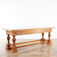 Large Antique Oak 3 drawer library table (1016713)