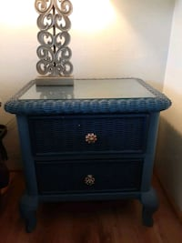 Painted Wicker Side Table