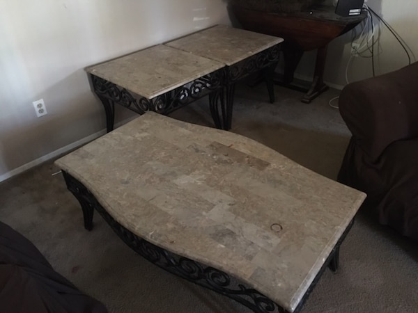 Rectangular brown marble coffee table