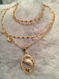 18k GPL Dolphin Pendant With Chain Necklace