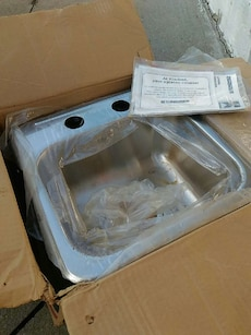 stainless steel sink in box
