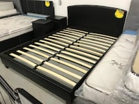 Brand new black queen faux leather platform bed frame warehouse sale  多伦多