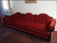 Red velourish fabric couch. Super comfy and long.   Los Angeles, 90013