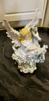 white and pink ceramic angel figurine Toronto, M4C 2A8