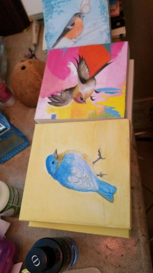 yellow and blue bird painting