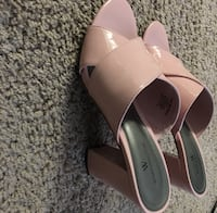 pair of pink leather open-toe heeled sandals Savannah, 31407