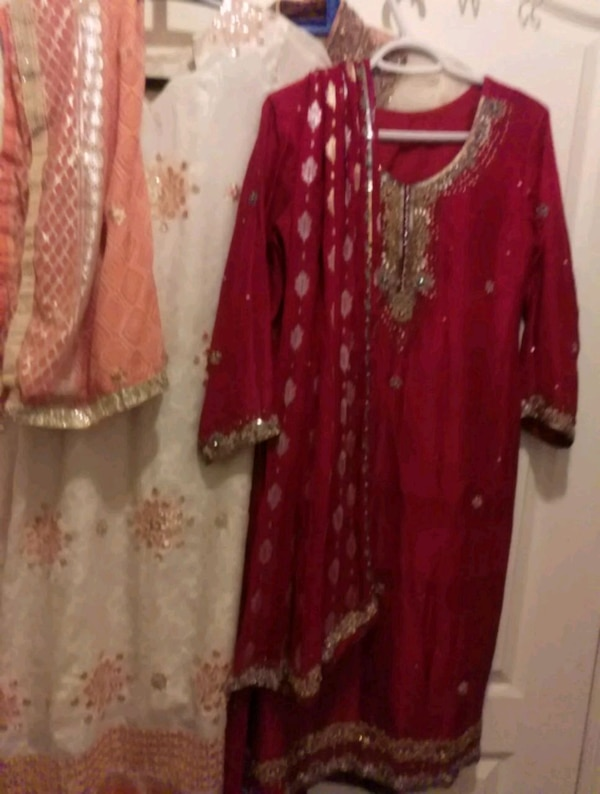 women's red and brown floral traditional dress