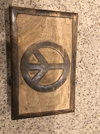 Peace sign wooden box Warner, 74469