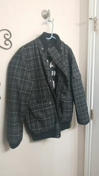 black and grey buttoned jacket