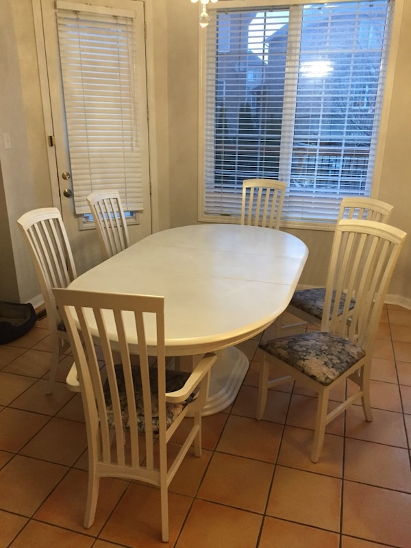 Round white wooden table with 6 chairs dining set