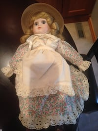 doll in white and brown floral dress Mississauga