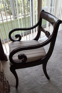 Ethan Allen chair solid wood scroll arms