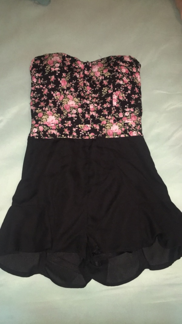 Small floral sleeveless one piece with ruffle bottom shorts