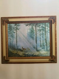 brown wooden framed painting of trees 223 mi