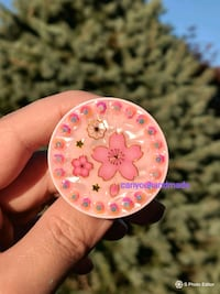 round pink and white floral pendant Markham