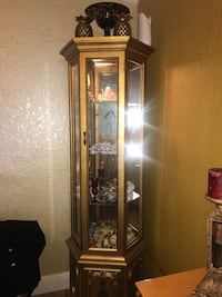 Brown wooden framed glass display cabinet Boca Raton, 33428